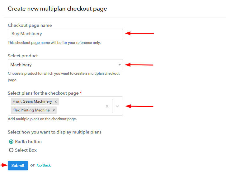 Creating Multiplan Checkout to Sell Machinery Online