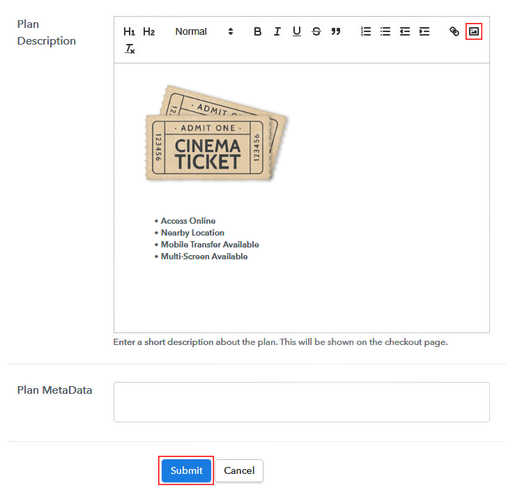 Add Image & Description to Sell Movie Tickets Online
