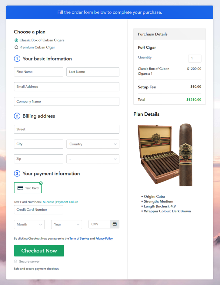 Multiplan Checkout Page to Sell Cigars Online