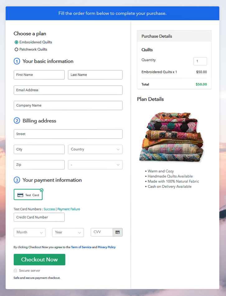 Multiplan Checkout Page to Sell Quilts Online