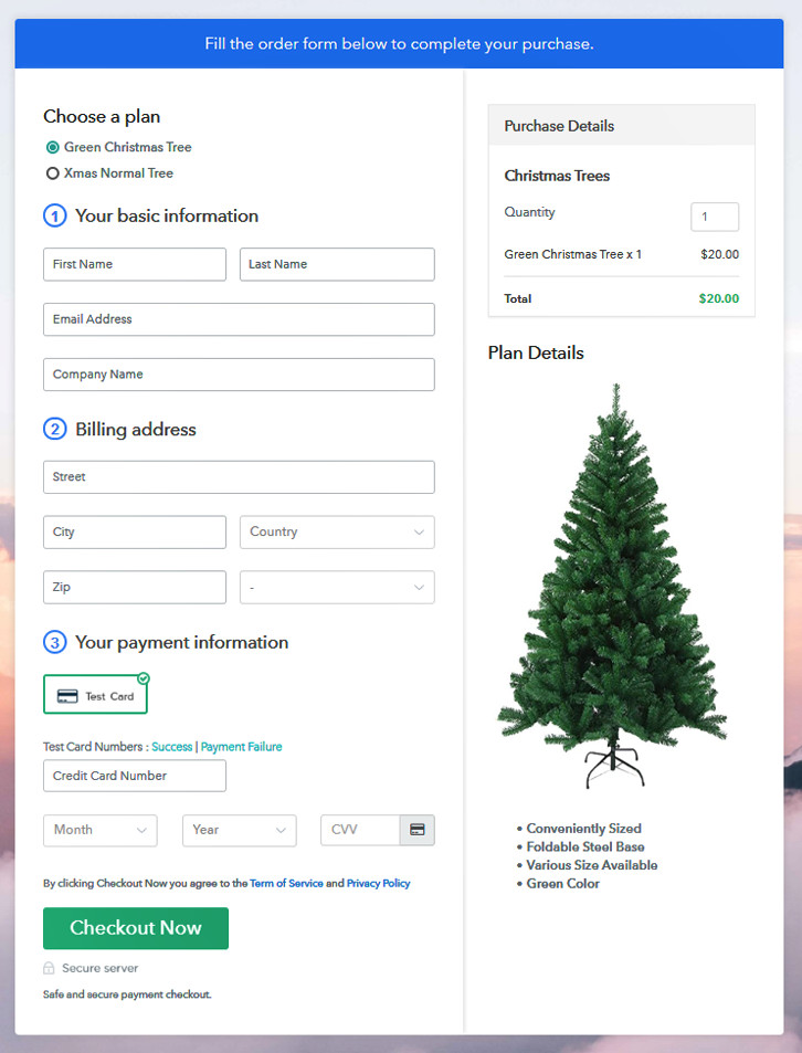 Multiplan Checkout Page to Sell Christmas Trees Online