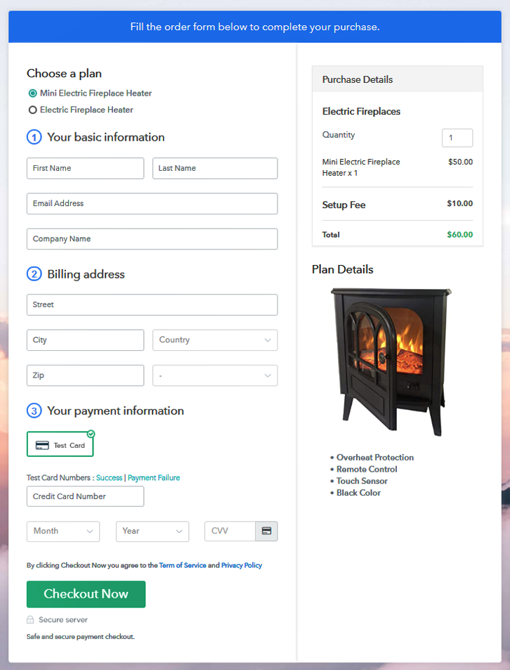 Multiplan Checkout Page to Sell Electric Fireplaces Online