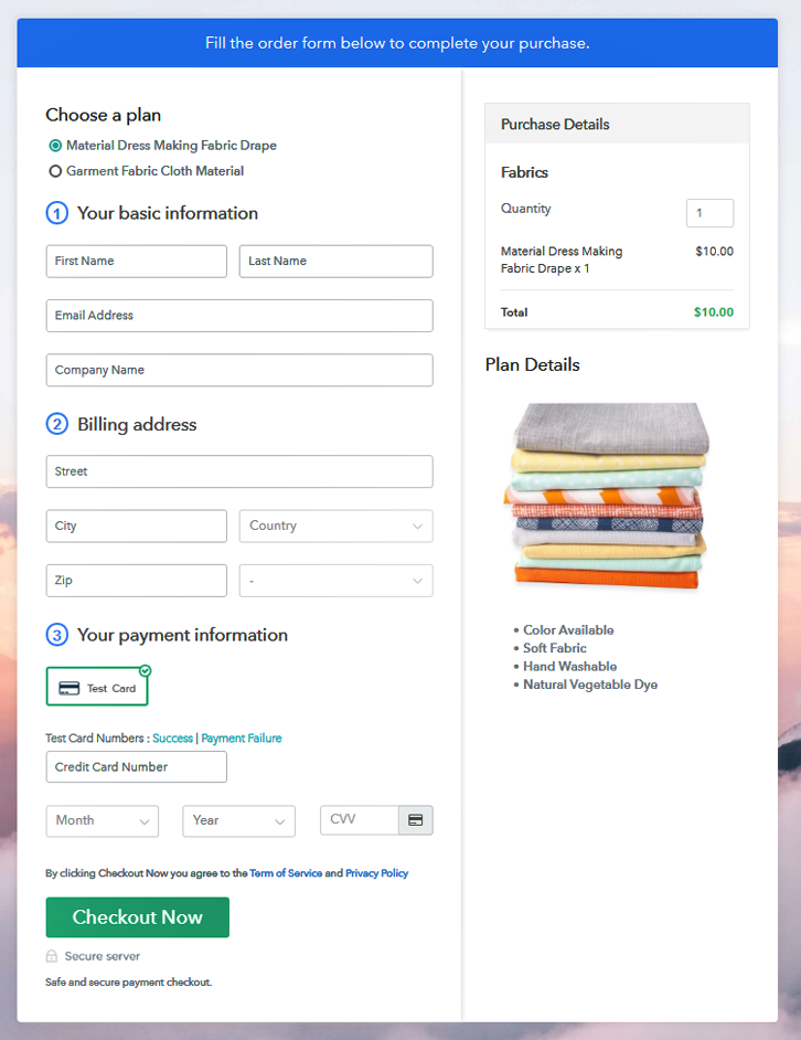 Multiplan Checkout Page to Sell Fabric Online
