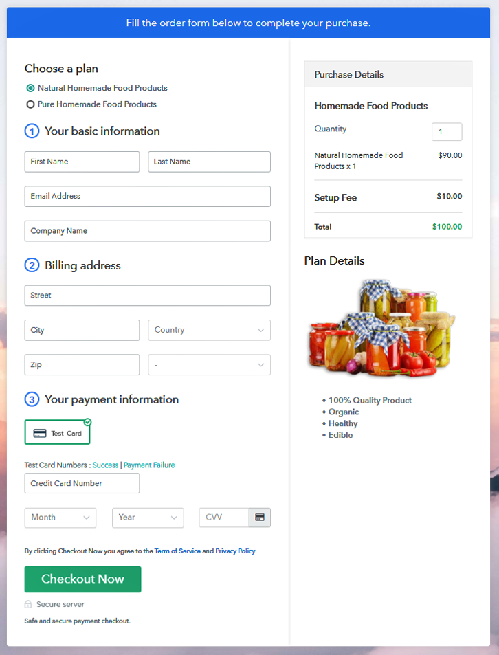 Multiplan Checkout Page to Sell Homemade Food Products Online