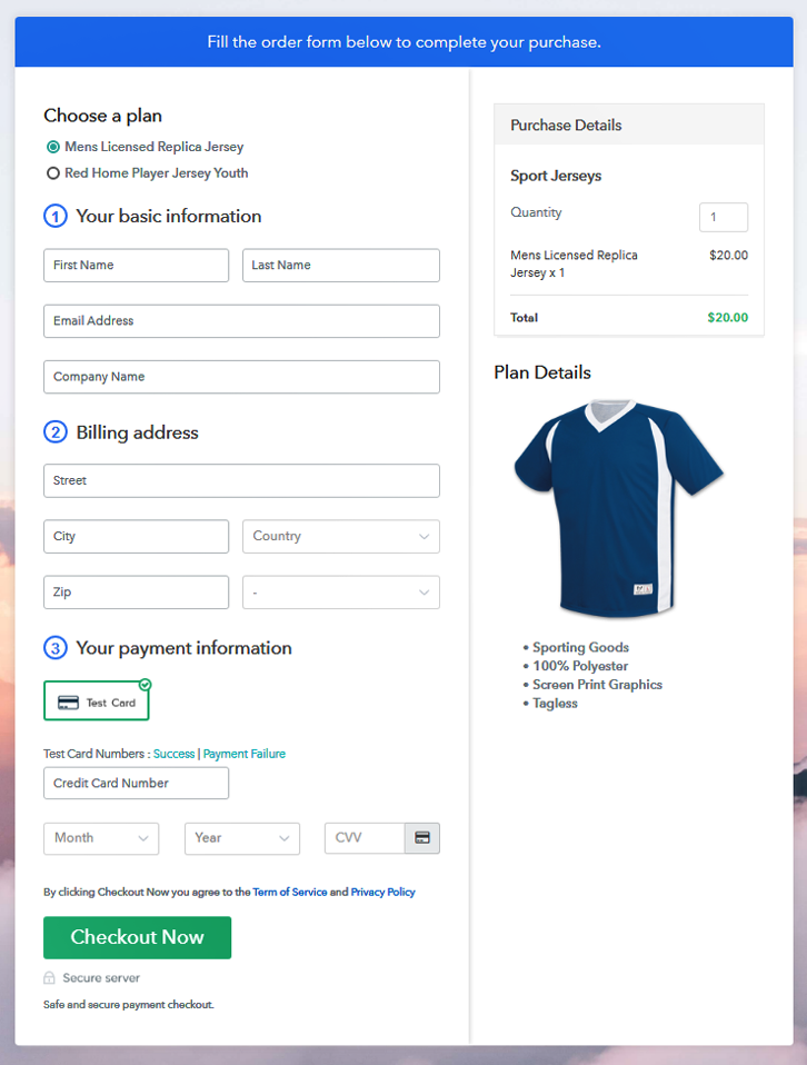 Multiplan Checkout Page to Sell Jerseys Online