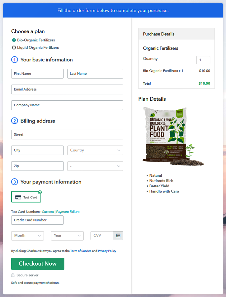 Multiplan Checkout Page to Sell Organic Fertilizers Online
