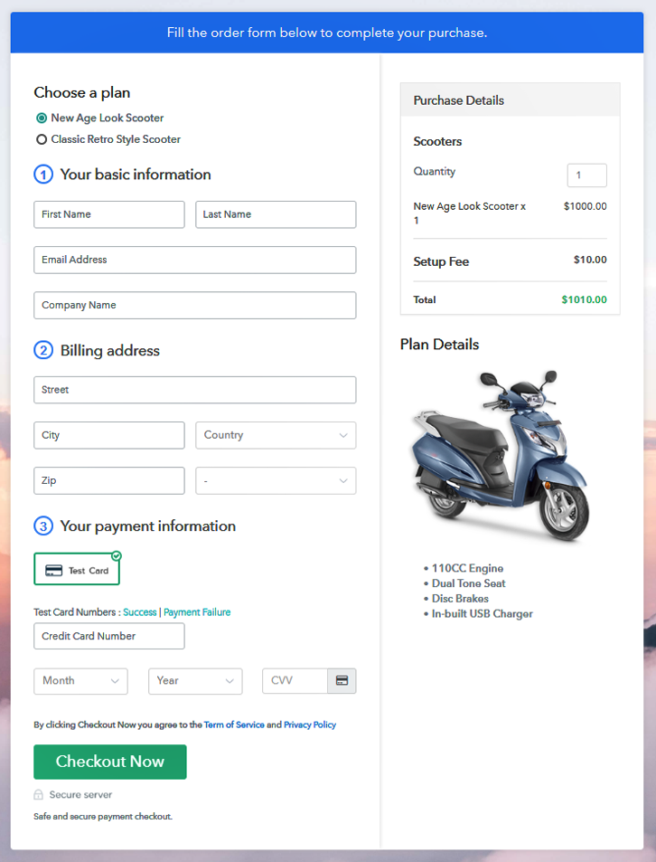 Multiplan Checkout Page to Sell Scooters Online