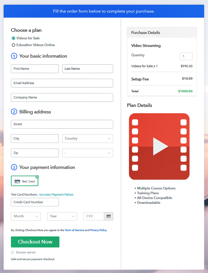 Multiplan Checkout Page to Sell Videos Online