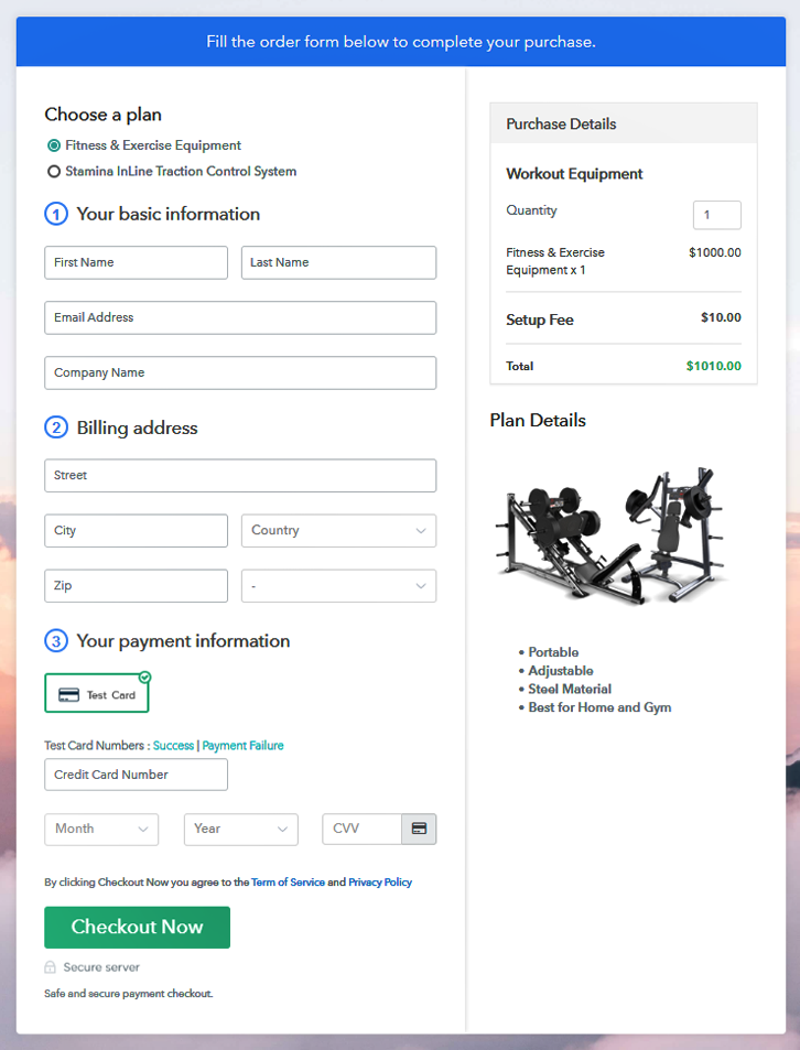 Multiplan Checkout Page to Sell Workout Equipment Online