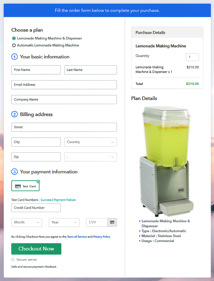 Multiplan Checkout Page to Sell Lemonade Maker Online