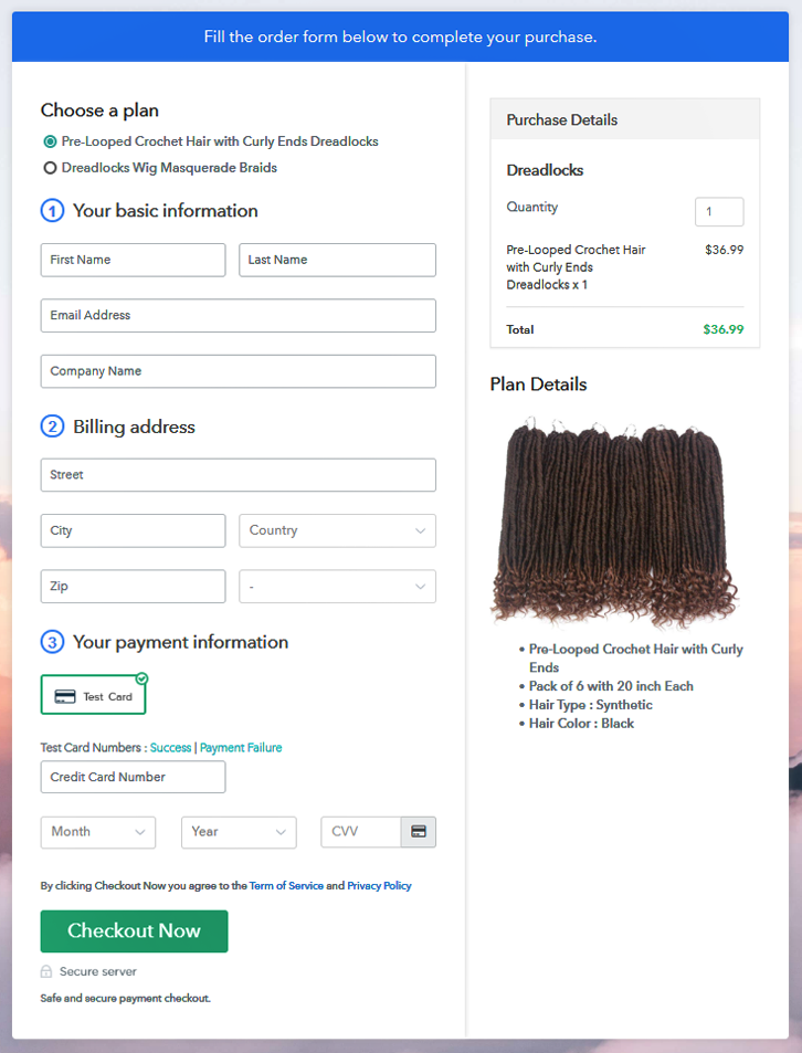 Multiplan Checkout Page to Sell Dreadlocks Online