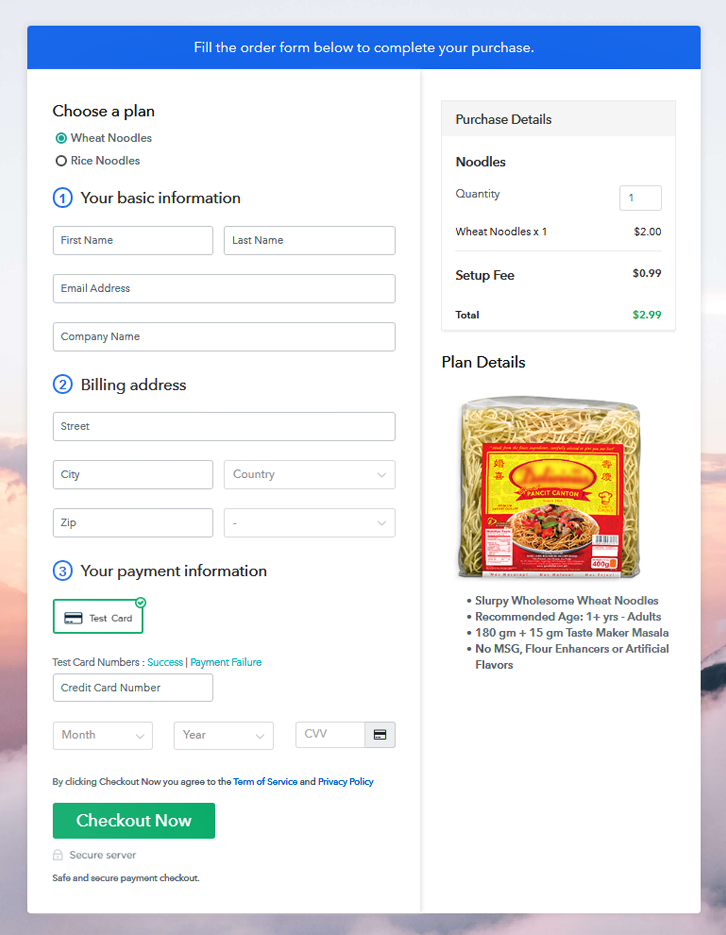 Multiplan Checkout Page to Sell Noodles Online