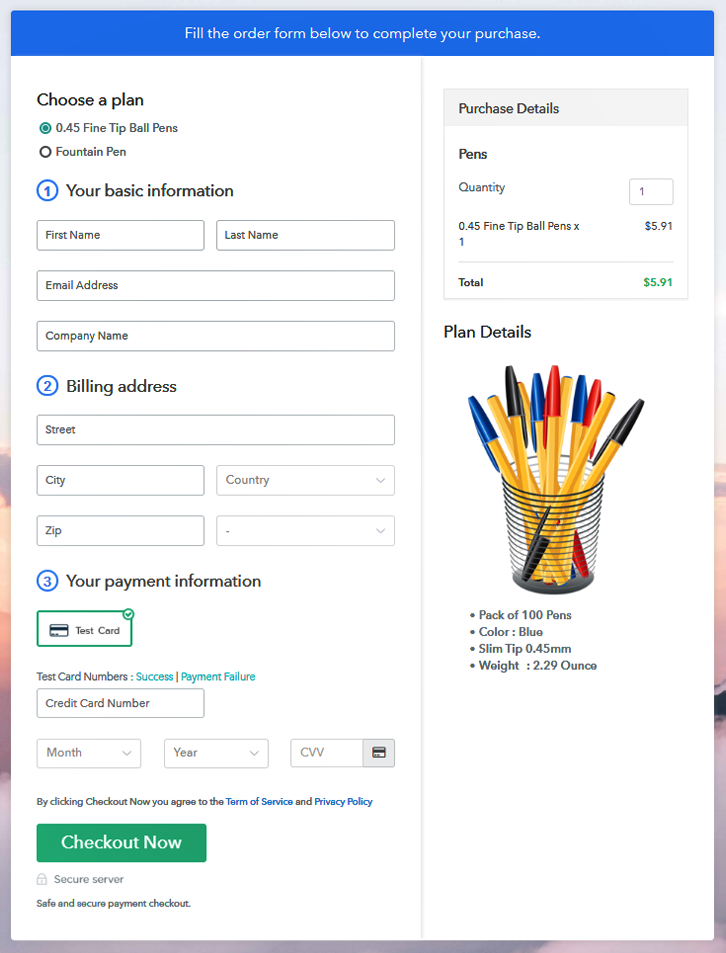 Multiplan Checkout Page to Sell Pens Online