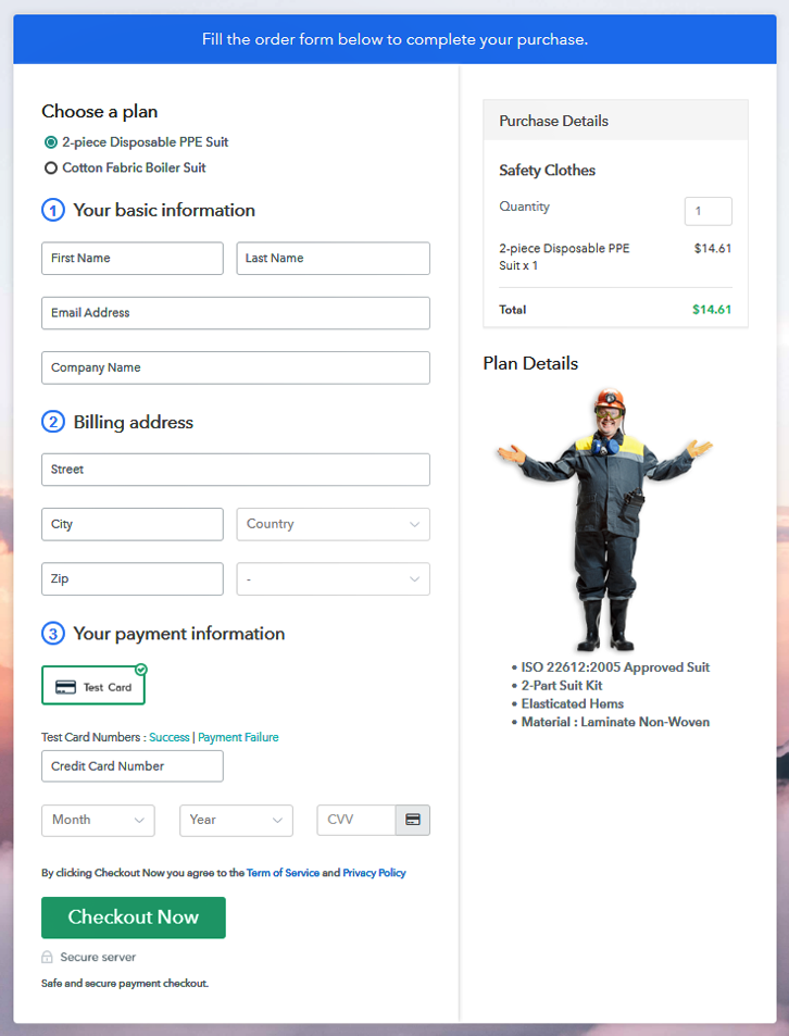 Multiplan Checkout Page to Sell Safety Clothes Online
