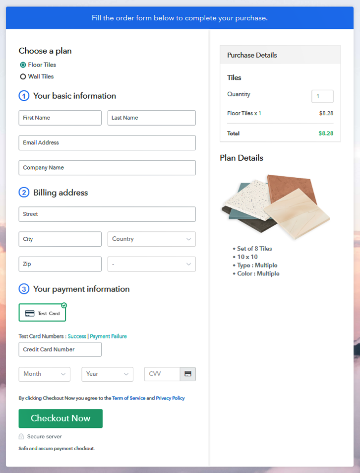 Multiplan Checkout Page to Sell Tiles Online