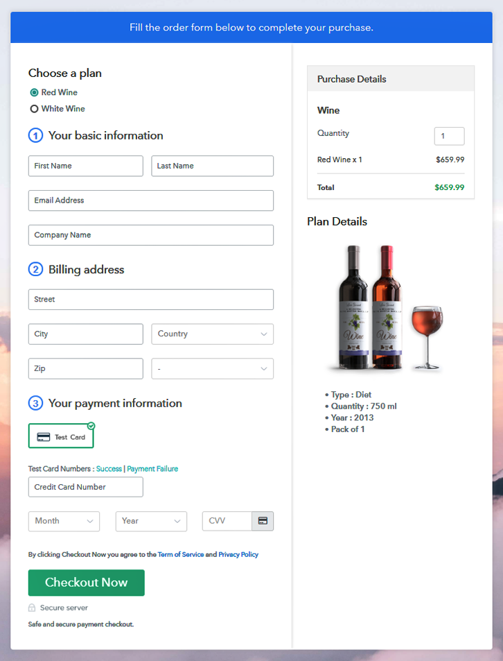 Multiplan Checkout Page to Sell Wine Online