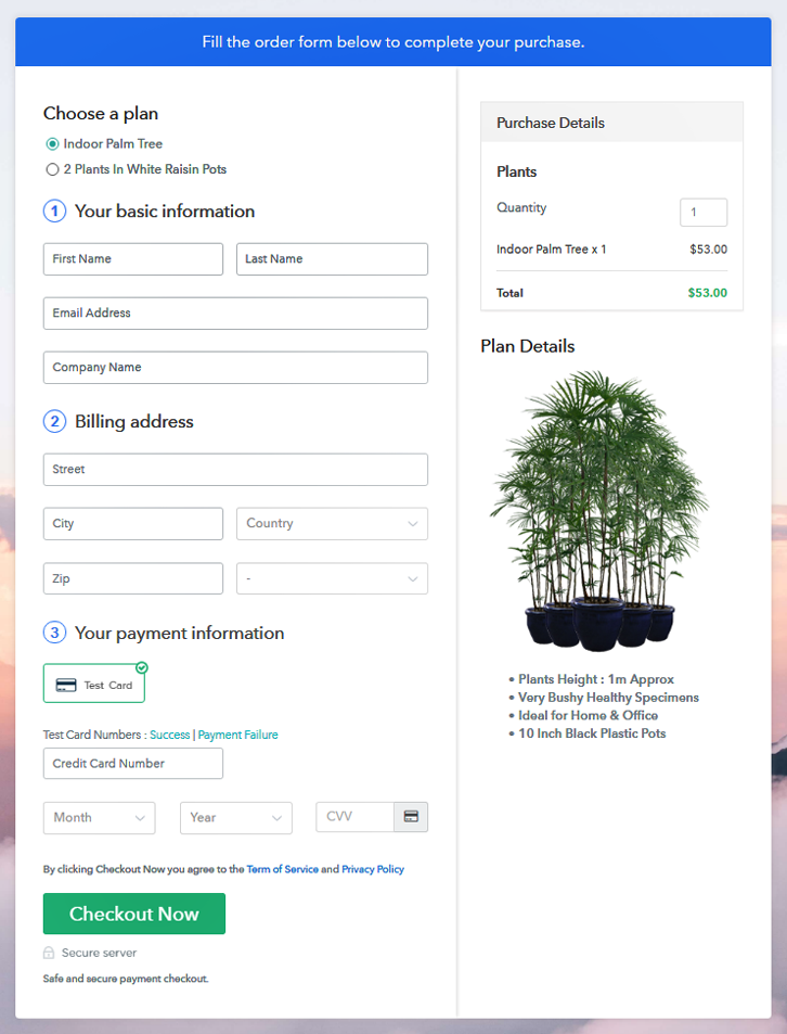 Multiplan Checkout to Sell Plants Online