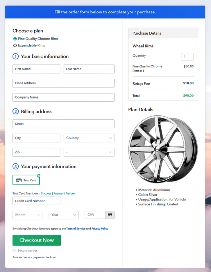 Multiplan Checkout Page to Sell Rims Online