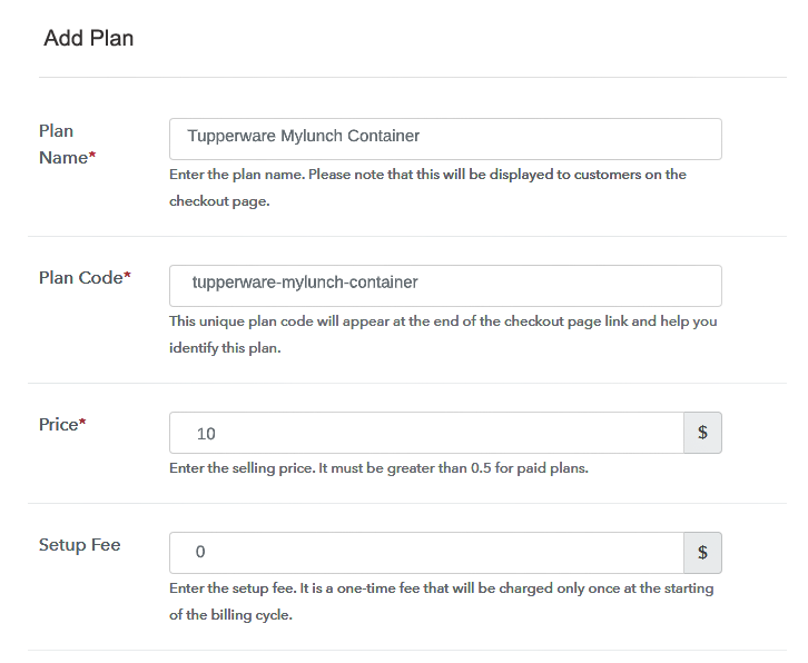 Specify the Plan & Pricing Details to Sell Tupperware Online