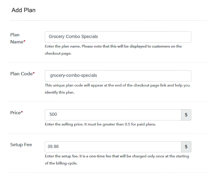 Add Plan Details to Sell Grocery Items Online