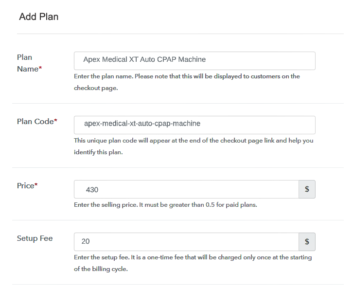 Specify The Plan And Pricing to Sell CPAP Machines Online