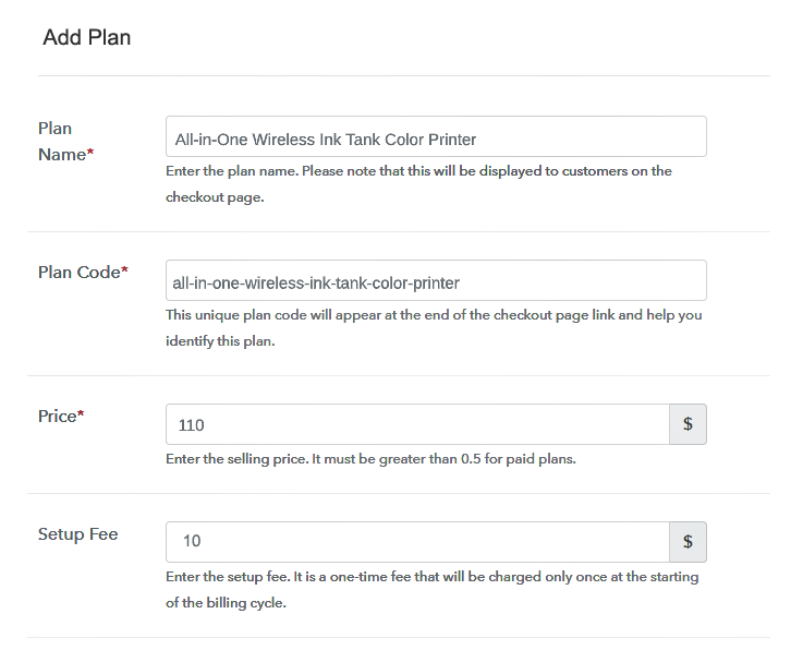 Specify the Plan and Pricing to Sell Printers online