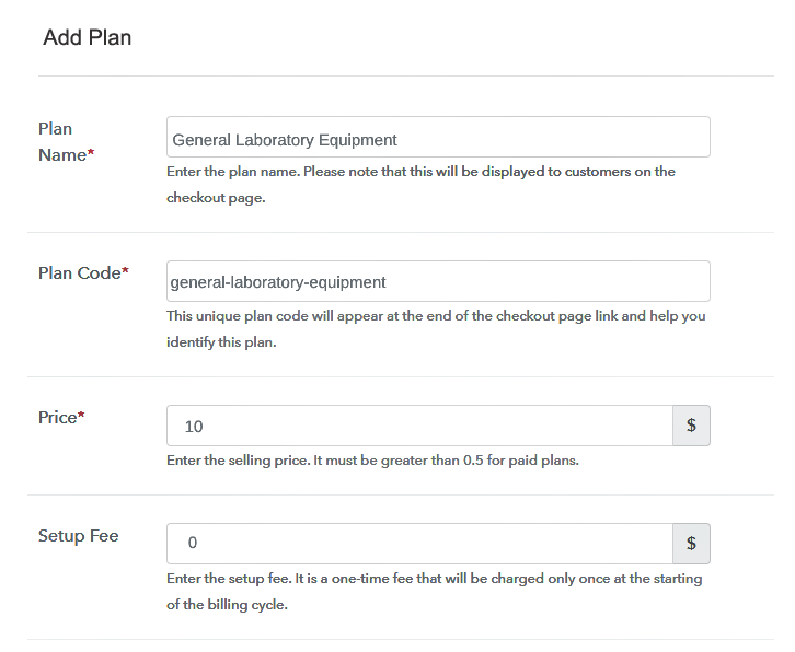 Specify the Plan and Pricing to Start Selling Lab Equipment Online