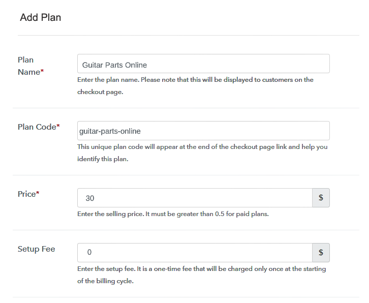 Specify the Plan and Pricing to Start Selling Musical Instrument Parts Online