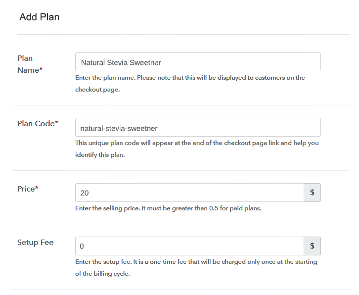 Specify the Plan & Pricing Details to Sell Natural Sweeteners Online