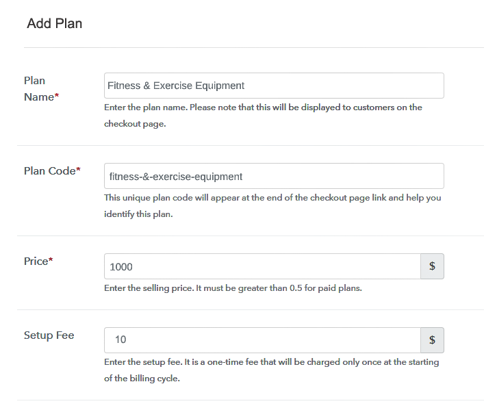 Specify the Plan and Pricing to Start Selling Workout Equipment Online