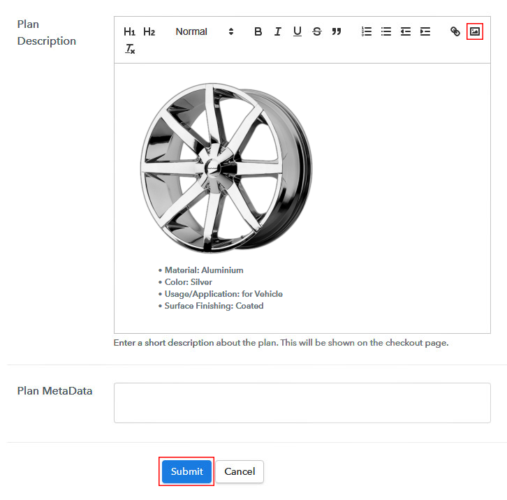 Add Image & Description to Sell Rims Online