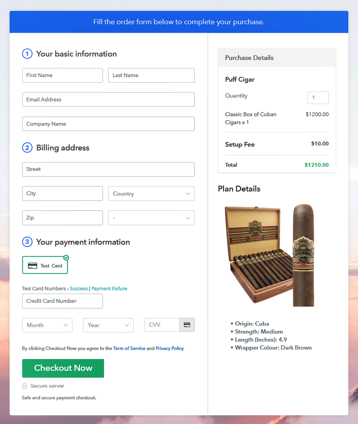 Checkout Page to Sell Cigars Online