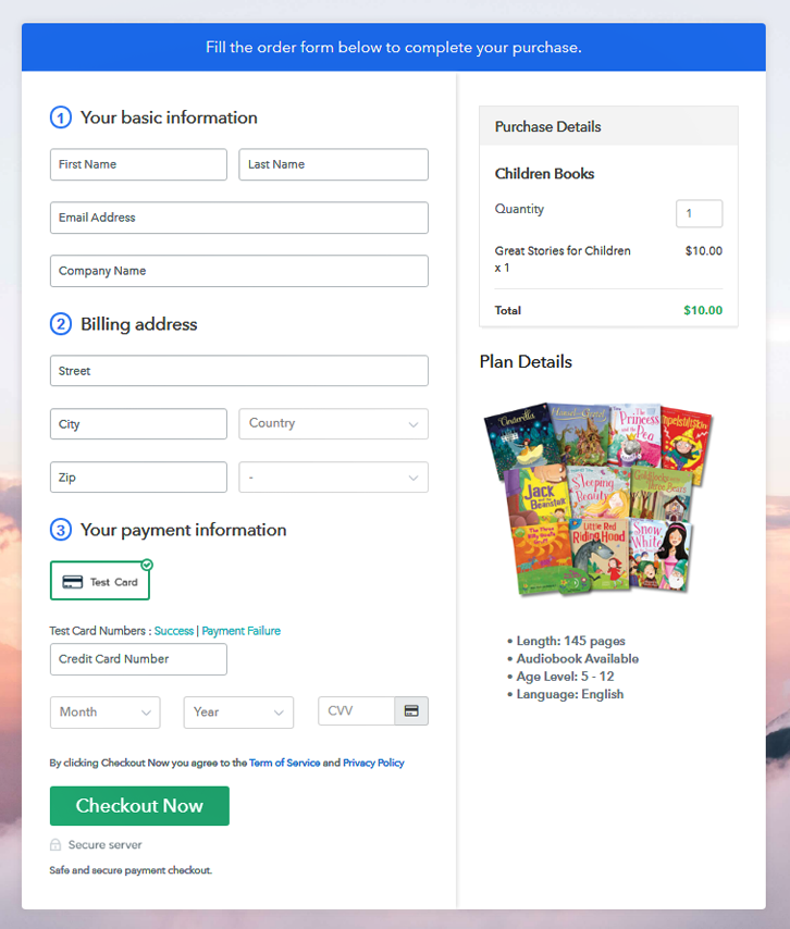 Checkout Page to Sell Children Books Online