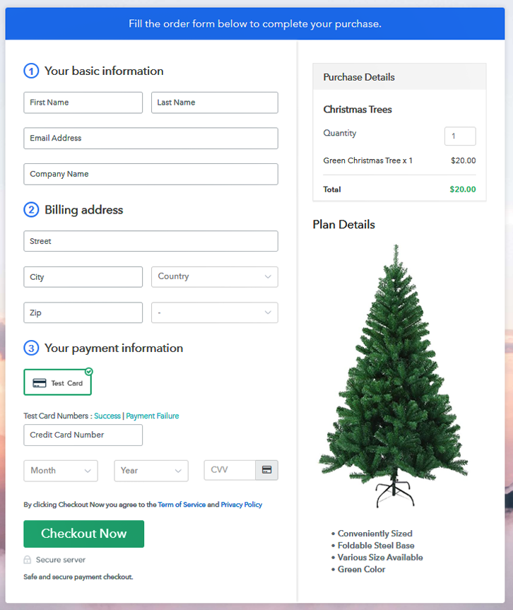 Checkout Page to Sell Christmas Trees Online