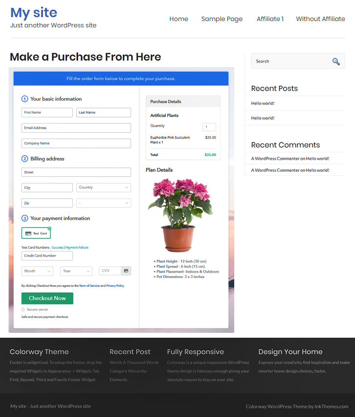 Checkout Page on WordPress Site to Start Artificial Plants Business Online