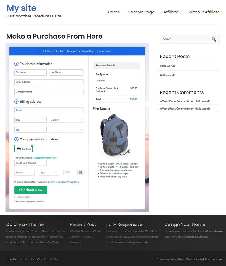 Embed Checkout to Start Backpacks Business Online