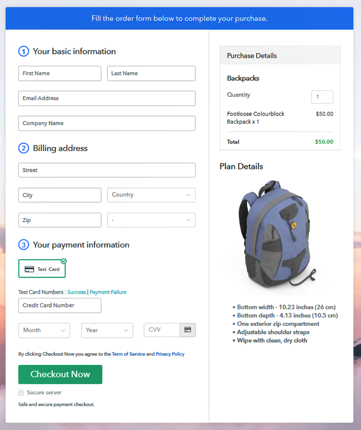 Preview Checkout Page to Start Backpacks Business Online