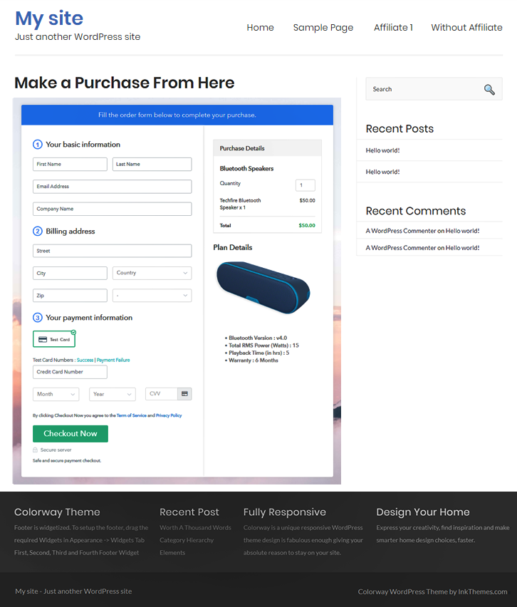 Embed Checkout Page in Site & Sell Bluetooth Speakers Online