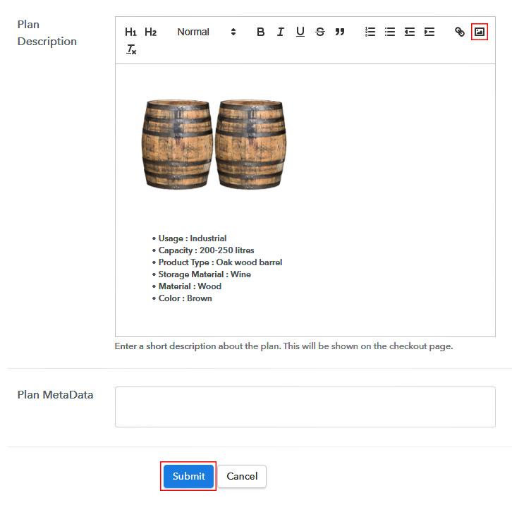 Add Description to Sell Barrels Online