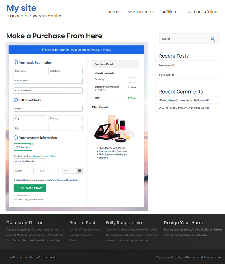 Final Look of your Checkout Page to Sell Beauty Products Online