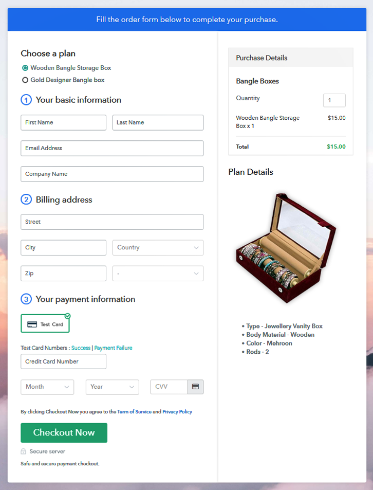 Multiplan Checkout Page to Start Bangle Boxes Business Online