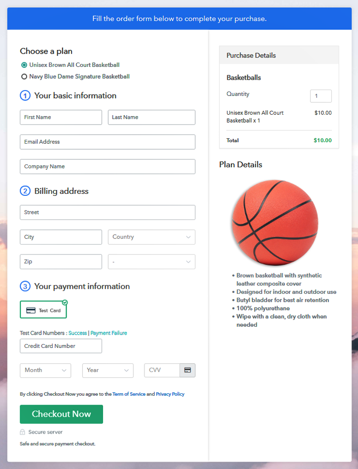 Multiplan Checkout Page to Start Basketballs Business Online