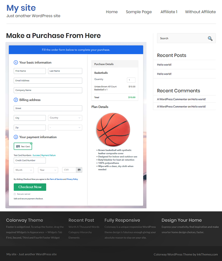 Final Look of your Checkout Page to Sell Basketballs Online