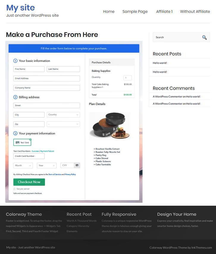 Embedd WordPress to Sell Baking Supplies Online