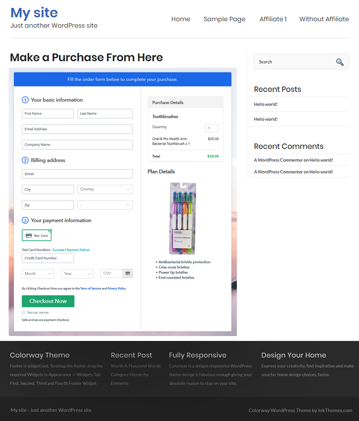 Final Look of your Checkout Page to Sell Toothbrushes Online