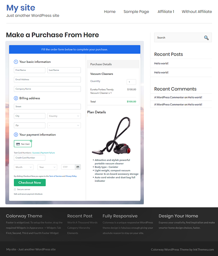 Final Look of your Checkout Page on WordPress Site to Sell Vacuum Cleaners Online