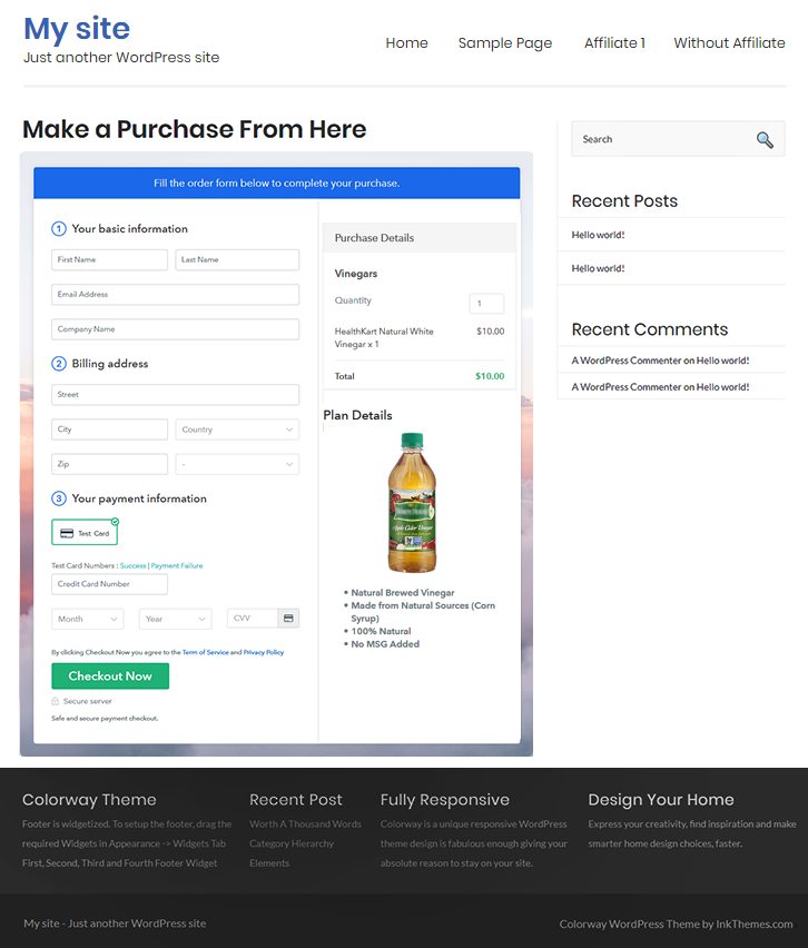 Final Look of your Checkout Page on WordPress Site to Sell Vinegars Online