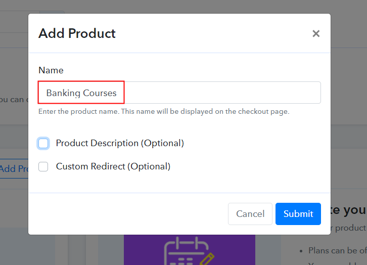 Add Product to Start Selling Banking Courses Online