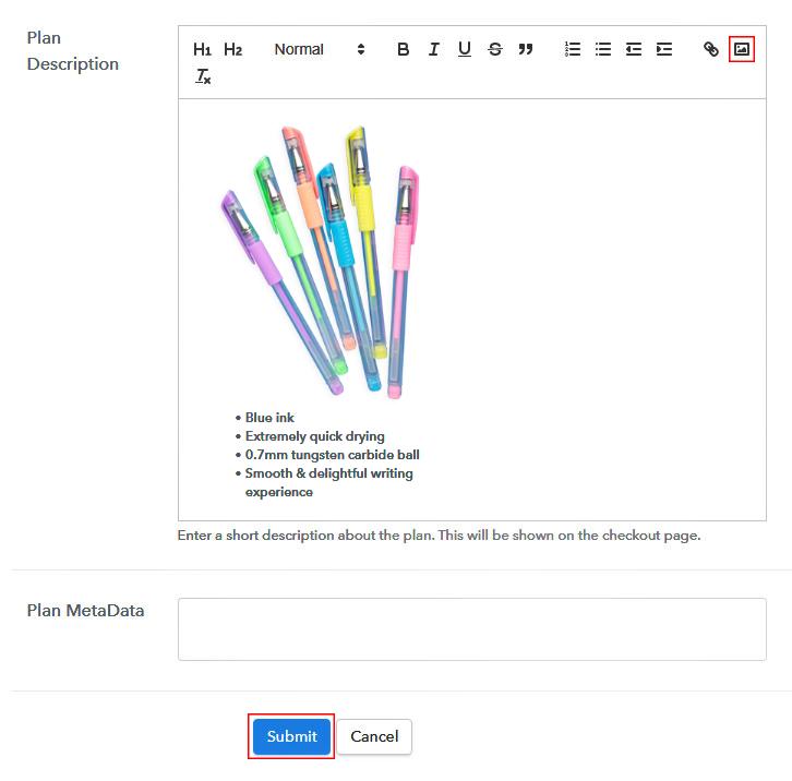 Add Plan Description - Sell Ball Pens Online