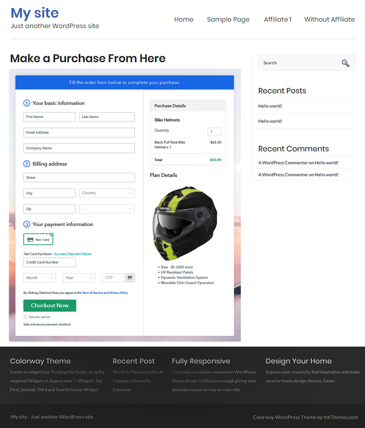 Checkout Page Preview on WordPress